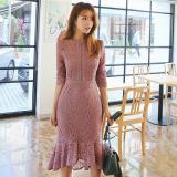 韓国 フェミニン 花柄 ワンピース 裾フリル レース 長袖 ピンク