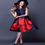 韓国ドレス 大輪 レッドフラワー ネイビー 薔薇 ノースリーブ ワンピース
