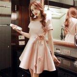 韓国ワンピ パーティードレス 花柄 ピンク 半袖 フレアスカート デート フェミニン ワンピース