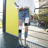 デニム 韓国ファッション ファー パッチワーク クロップドパンツ 無地