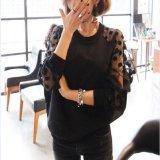 韓国ファッション シャツ ブラウス シースルー ドット柄 水玉模様 フェミニン 黒 ブラック