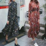 韓国ファッション ハイネック クラッシック 花柄 ワンピース マキシワンピ ロングワンピ