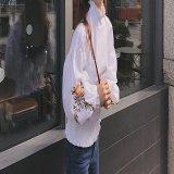 韓国ファッション シャツ ブラウス 花柄刺繍 トップス バルーン袖 白 ホワイト