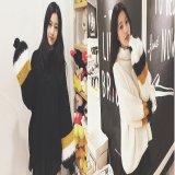 韓国ファッション ドルマンニット バルーンスリーブ ハイネック 袖ファー セーター ブラック ホワイト 黒 白