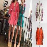 エスニック 民族柄 刺繍 フリンジ ワンピース 韓国ファッション グリーン オレンジ ベージュ ピンク