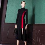 韓国ドレス バイカラー ハイネック スリット ワンピース 黒色 ブラック