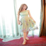 ワンピース ドレス 刺繍 結婚式 パーティー リゾート 旅行 花柄 膝丈 ミディアム ノースリーブ