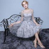 プリンセスドレス シルバーグレー ワンピース パーティー 二次会 花柄