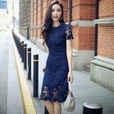 結婚式 ドレス 刺繍レース レイヤード ワンピース 花柄 ブルー 青 半袖