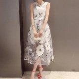 結婚式 ドレス 清楚 花柄 ミモレ丈 オーガンジー ワンピース