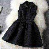 結婚式 パーティードレス ブラック ワンピース 黒 ノースリーブ イブニングドレス Aライン