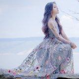 パーティードレス ロングドレス 花柄刺繍 レース シースルー 長袖 マキシワンピース