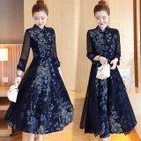 大きいサイズ 韓国ドレス ボタニカル 花柄 ハイネック ロングドレス ドレスワンピース XL 2XL