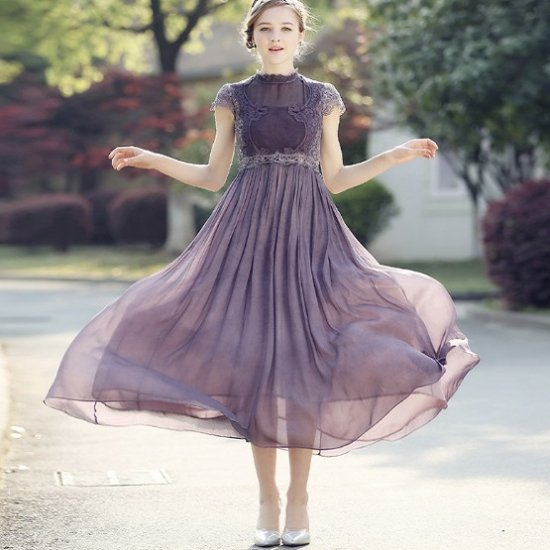 パーティードレス 紫 パープル シフォン マキシワンピース ロングドレス フレアワンピ