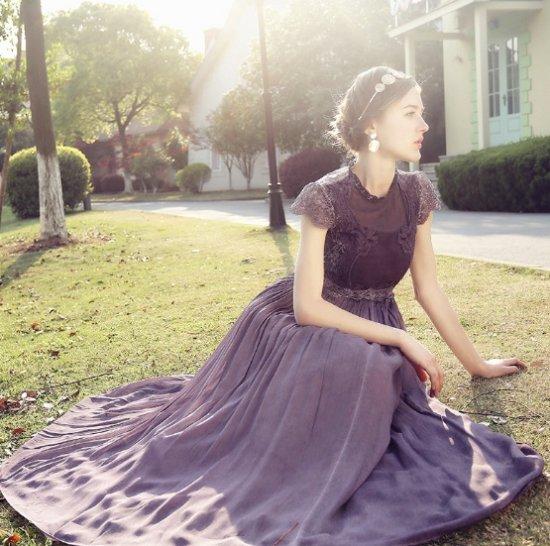 9ca61bea50093 パーティードレス 紫 パープル シフォン マキシワンピース ロングドレス ...