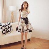 韓国ファッション パーティードレス ドレスワンピ 花柄 レース Aライン オーガンジー モノトーン