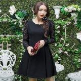 大きいサイズ 花柄 Aライン ワンピース ドレス フリル XL 2XL 3XL ブラック 黒