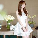 韓国ドレス お姫様 ワンピース ノースリーブ 花柄模様 ミニワンピ