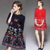 花柄刺繍が可愛い韓国ワンピース Aライン ブラック レッド 七分袖