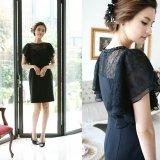 韓国 ワンピース イブニングドレス ブラック 刺繍 大人