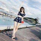 韓国 水着 ワンピース オフショルダー レイヤードトップ 花柄ビキニ スカートパンツ