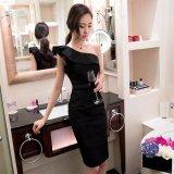 韓国 イブニングドレス ワンピース ワンショルダー ラッフル フリル スリム Aライン ブラック