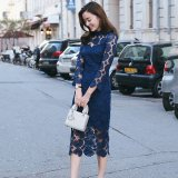 韓国 ペイズリー ワンピース ミモレ丈 ブルー 刺繍レース レイヤード ハイネック