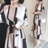 韓国 幾何学模様 ジオメトリック エレガントスタイル 大人ワンピース セレブファッション