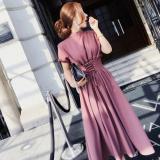 韓国 大人女子 ハイネック ミモレ丈のワンピース ミディドレス パフ半袖