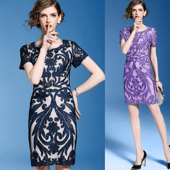 韓国ドレス ボタニカル 花柄刺繍 Aラインワンピース ネイビー パープル 大きいサイズ