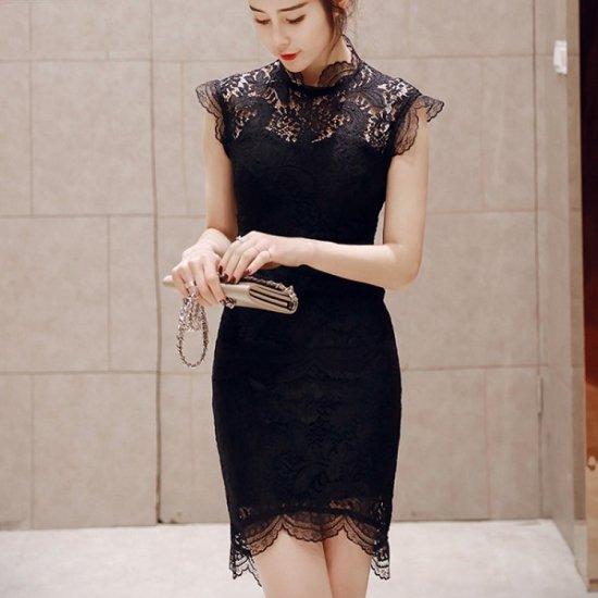 韓国ドレス 花柄刺繍 シースルー ノースリーブワンピース ミディドレス 膝丈 ミモレ丈