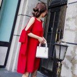 韓国ドレス 赤色のパーティードレス ミディアム ワンピース レッド