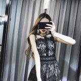 韓国ドレス 花柄 レース 刺繍 ワンピース ノースリーブ メッシュ