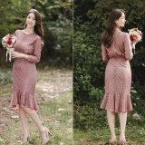 韓国ドレス フェミニン 裾フリル レースワンピース 結婚式 二次会 パーティー 食事会