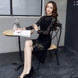 謝恩会やパーティーにおすすめな韓国ドレス フィッシュテール ミモレ丈の長袖ワンピース