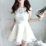 清楚な花柄レースのノースリーブワンピース ホワイト 白 カジュアルな韓国ドレス