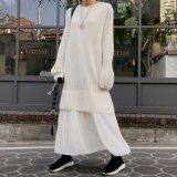 秋冬に可愛らしいニットワンピース プリーツスカートが素的な韓国ワンピース
