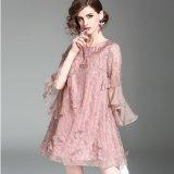 パーティーやお呼ばれに 花柄レースとフリル袖が可愛いワンピース シースルーがセクシーなドレス