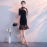マーメイドラインが美しい韓国ワンピース 結婚式や食事会で着たいハイネックのパーティードレス