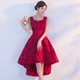 花柄モチーフとフィッシュテールスカートが可愛い韓国ワンピース 真っ赤なノースリーブのパーティードレス