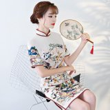野鳥の刺繍が美しいチャイナドレス 花柄刺繍のタイトなワンピース