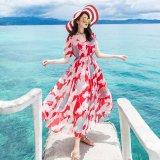 リゾートで着たいトロピカル柄の韓国ワンピース 夏の海やバカンスにぴったりな花柄のマキシワンピース