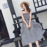お嬢様スタイルのギンガムチェック柄の韓国ワンピース 夏にピッタリなノースリーブのマキシワンピース