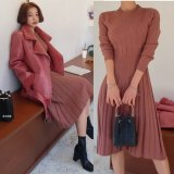 ニットプリーツスカートが可愛い韓国ワンピース 秋冬に着たい暖かいニットワンピース