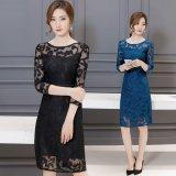 お嬢様な雰囲気を楽しめる透け感が大人っぽい韓国ワンピース 花柄模様のシースルーレースが可愛いパーティードレス