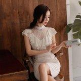 お嬢様スタイルを楽しめるスリムな韓国ワンピース シフォンレースのフリルが可愛いパーティードレス