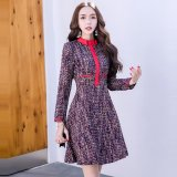 ネックリボンが個性的なミックスカラーの韓国ワンピース フレアスカートが可愛いパーティードレス