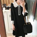 プリーツスカートが可愛い韓国ワンピース お嬢様スタイルでバイカラーのワンピース