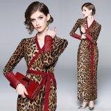 ヒョウ柄のセクシーなマキシワンピース レオパードのエレガントなロングドレス