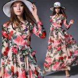 花柄模様がエレガントなマキシワンピース ローズデザインが素的な薔薇模様のパーティードレス
